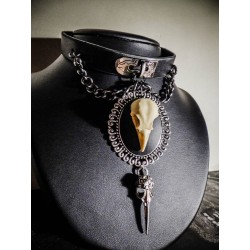 Collier cuir noir argenté camée Mexican Sugar Skulls calavera gypsy bohème ♰Vampire Bat Skull♰