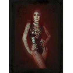 Collier cuir noir coeur 666 Aimee Ankh 666