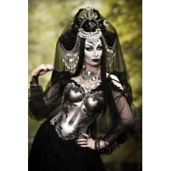 "Collier maxi argenté vieilli plastron dentelle Indian Dream Gypsy Boho Chic ""Ice King Phoenix"""