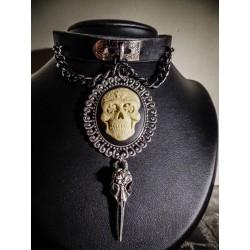 Collier cuir noir argenté camée Mexican Sugar Skulls calavera gypsy bohème ♠Ghost Rider♠
