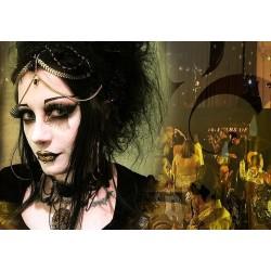 Collier plastron dentelle noir bronze pentagram crucifix ♠ 666 Corpus Christi 666 ♠