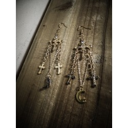 Boucles d'oreilles dorées rosaire Croix