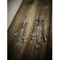 Boucles d'oreilles argentées rosaire Croix