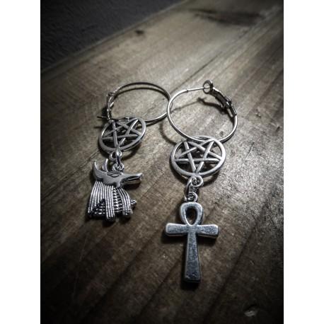 Créoles argentées 666 Ankh and Anubis 666