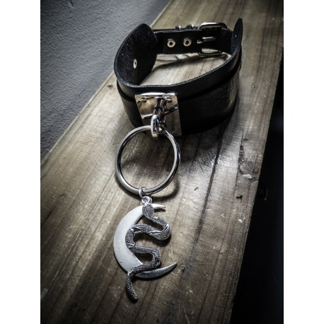 Collier cuir noir vegan argenté Moon Snake