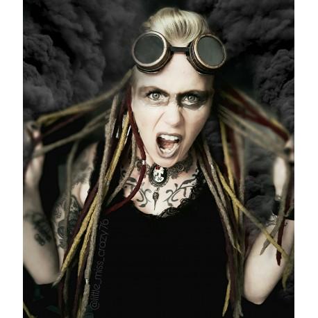 "Collier plastron camée femme Mexican Sugar Skulls calavera gypsy bohème ""Skulls & Roses"""