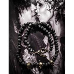 Collier bronze perles pierre de lave calavera mexican gypse bohème plumes katvond ♠Skulls♠