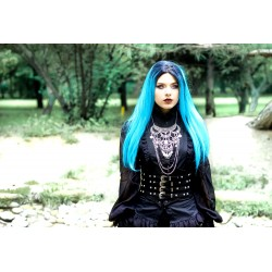 Collier maxi plastron lune argenté goth pentagram tiny skulls 666 Elvira 666