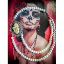 "Collier perles crème argenté Mexican Sugar Skulls calavera gypsy bohème ""Sleepy Hollow"""