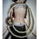 "Collier perles crème argenté Mexican Sugar Skulls calavera gypsy bohème ""Skulls & Roses"""