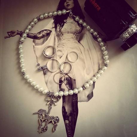 """Collier perles crème couleur argent """"Angélique"""""""