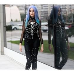"Harnais chaines noir argenté ""666 Egypt Elvira 666"""