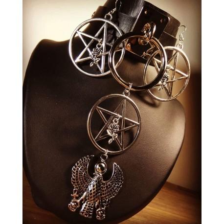 Boucles d'oreilles argentées pentagram Rose