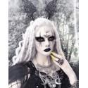 Collier maxi plastron lune argenté goth pentagram 666 Victoria 666