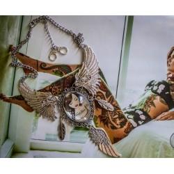 Collier plastron argent camée Mexican Sugar Skulls calavera gypsy bohème MC Ink ♰Tattooed♰