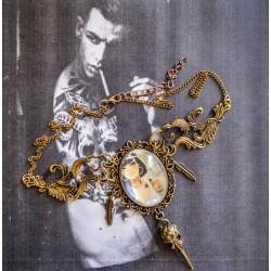 Collier bronze cabochon steampunk tattoo skullbird plumes ♠Yasmine♠