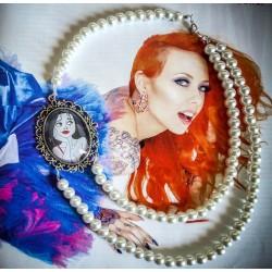 """Collier perles crème argenté Mexican Sugar Skulls calavera gypsy bohème """"Tattoo Alice"""""""