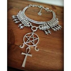 Collier maxi plastron argenté 666 Moon Ankh 666