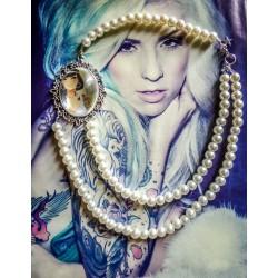 Collier perles crème double rang argent camée gypsy bohème MC Ink ♰Tattooed Yasmine♰