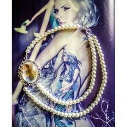 Collier perles crème double rang argent camée gypsy bohème MC Ink ♰Tattooed Bella♰
