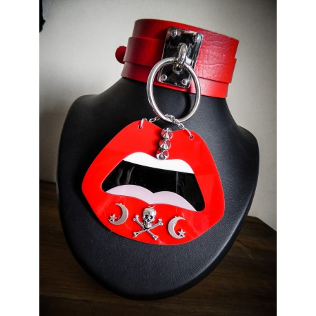 Collier cuir rouge argenté Punk Mouth Cervena