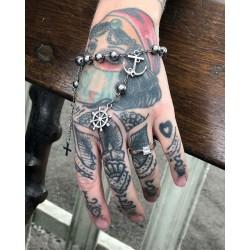 Bracelet rosaire argenté mixte acier steampunk Sailor Anchor