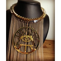 Collier rigide doré chaines Spike All Seeing Eye