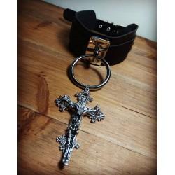Collier cuir noir vegan argenté Skully Crucifix