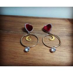 Boucles d'oreilles dorées coeur rouge velours Moon