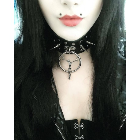 Collier cuir noir vegan bondage Spike Skull Crucifix