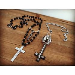 Chapelet rosaire acier mixte Crucifix Croix Skeleton