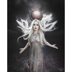 Collier maxi plastron lune argenté goth Egypte Ankh Elaine