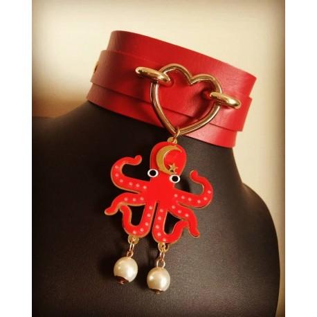 Collier cuir rouge doré Lune coeur Octopus Alexandra