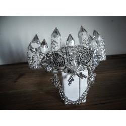 Couronne argentée strass diamant Double Clefs Rotten Queen