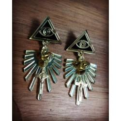 Boucles d'oreilles dorées Spike Allseeing Eye Gina