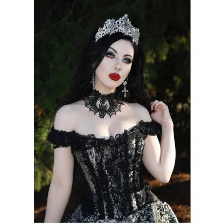 Couronne argentée strass Queen of the Damned