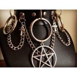 Collier cuir noir vegan chaines triple circle 666 Ankh Moon 666