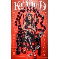 Rosaire chapelet argenté perles noires punk Shiny Skull Feather Kat von D