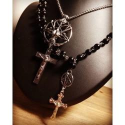 Chaine argentée Baphomet Croix 666 Nicolas Poison 666
