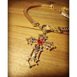 Collier doré ras de cou 666 Croix Baroque Strass 666