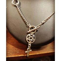 Collier chaines argenté Ankh 666 Egyptian 666