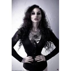 Collier maxi plastron argenté strass coeur noir plexiglas Eleine