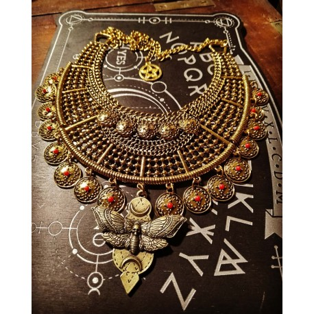 Collier doré tribal pièces Butterfly Skull