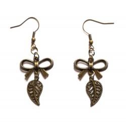 """Boucles d'oreilles couleur bronze feuille """"Mathilde"""""""