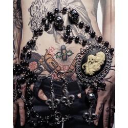 "Chapelet rosaire perles noires camée femme Mexican Sugar Skulls calavera gypsy bohème ""Sleepy Hollow"""