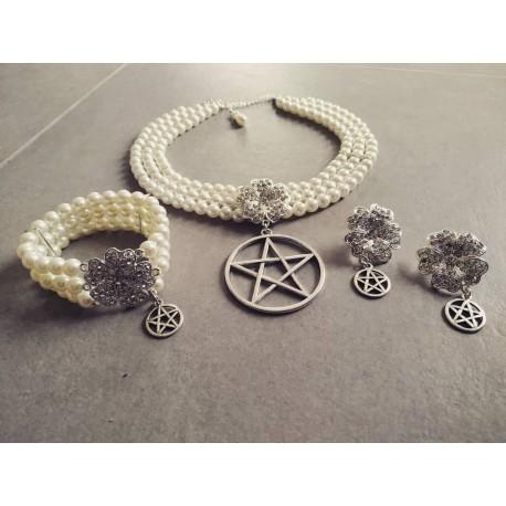 Parure perles argenté 666 Goth Wedding 666