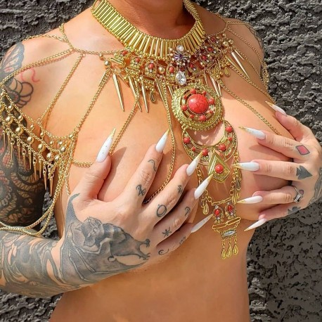 Collier doré armure belly dance goth Spider Lady Masuimi