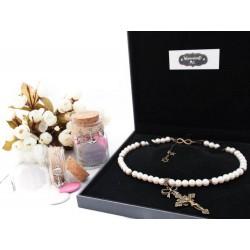"""Collier perles crème couleur bronze Crucifix et Etoile de David """"Elise"""""""