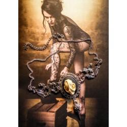 Collier plastron argenté camée Mexican Sugar Skulls calavera gypsy bohème ♰Vampire Bat Skull♰