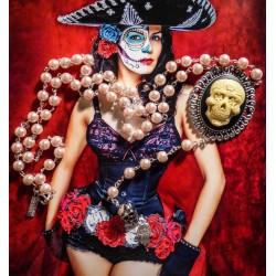"Chapelet rosaire perles rose camée femme Mexican Sugar Skulls calavera gypsy bohème ""Ghost Rider"""